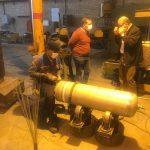 تصویری از مراحل تولید سیلندرهای نگهدارنده گاز اتیلن اکساید با حضور بازرسان پتروشیمی شازند